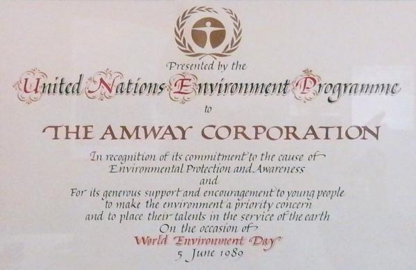 Amway ocenění OSN - UNEP
