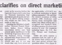 The Hindu (23.2.2003) - Centre clarifies on direct marketing cos.