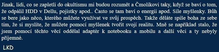 Printscreen 2 - diskuze s uživatelem LKD (LHK, Lucas Nicholas, Lukáš Havlíček)