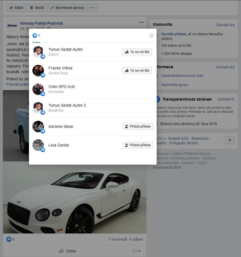 Jak Amway kritici sbírají lajky na Facebooku